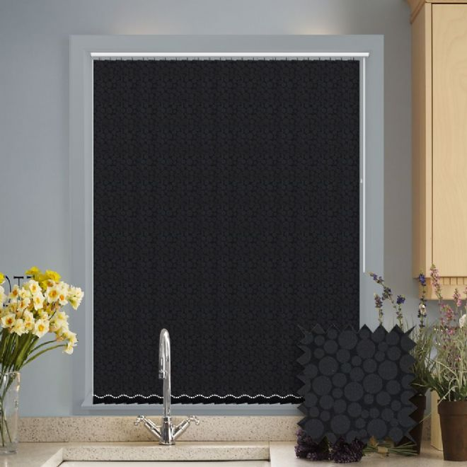 Made to Measure Polka Jet Black Vertical Blind - Just Blinds